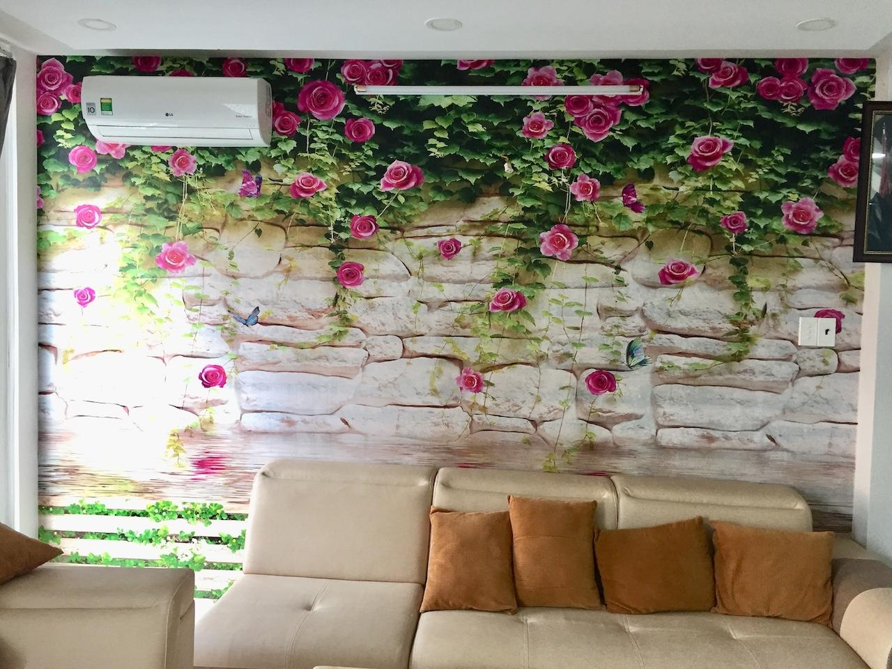 Tranh dán tường 3d hoa lá
