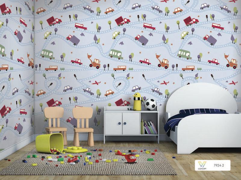 Giấy dán tường phòng ngủ bé trai 7924-2