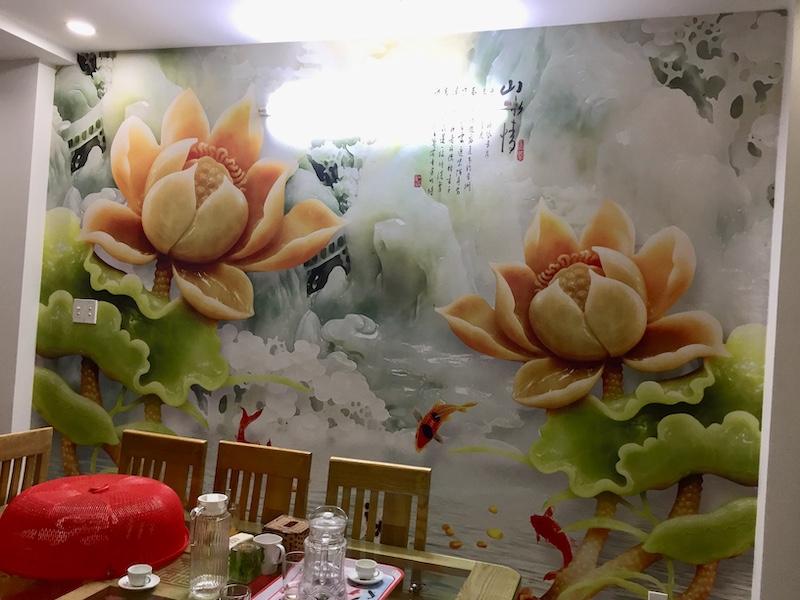 tranh dán tường hoa sen đá