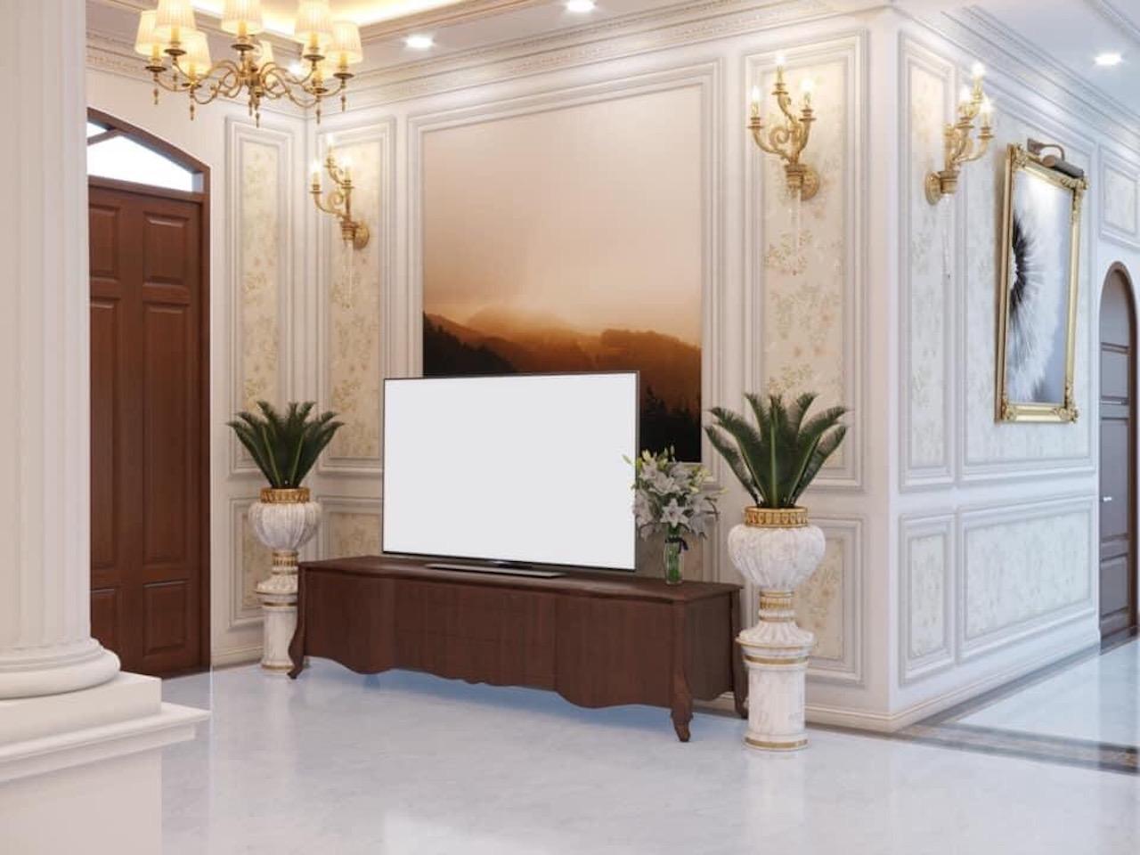 trang trí giấy dán tường phòng khách